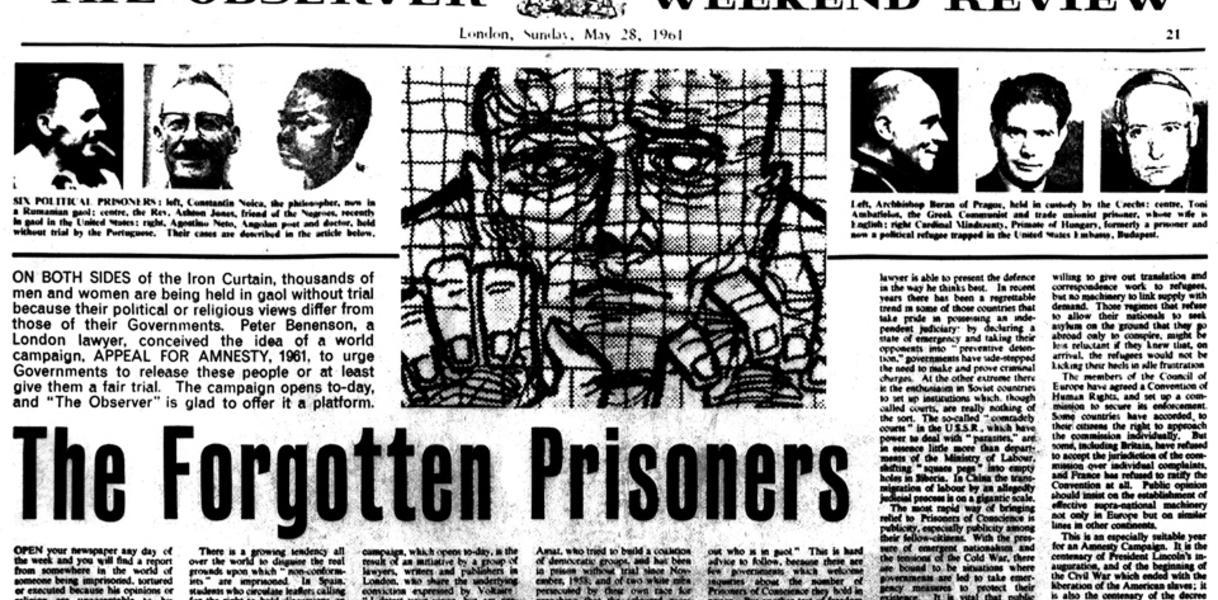 """Artikel von Peter Benenson in der britischen Wochenzeitung """"The Observer"""" vom 28. Mai 1961"""